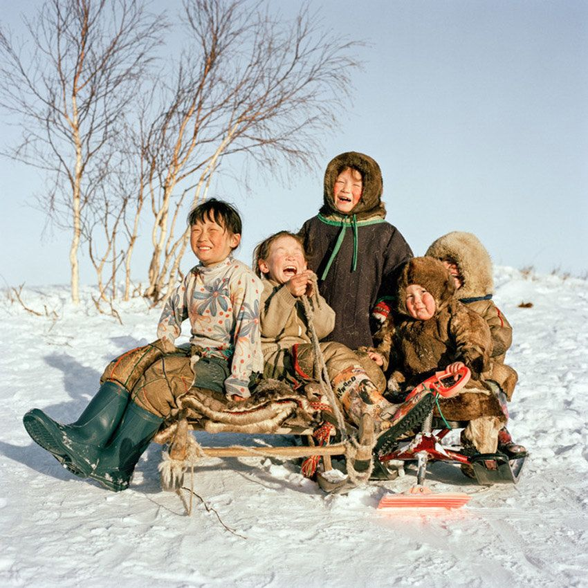 Life on the line. Ulyana, Yana, Olga, Simeon and Hassowako. Yamal, Siberia, 2012