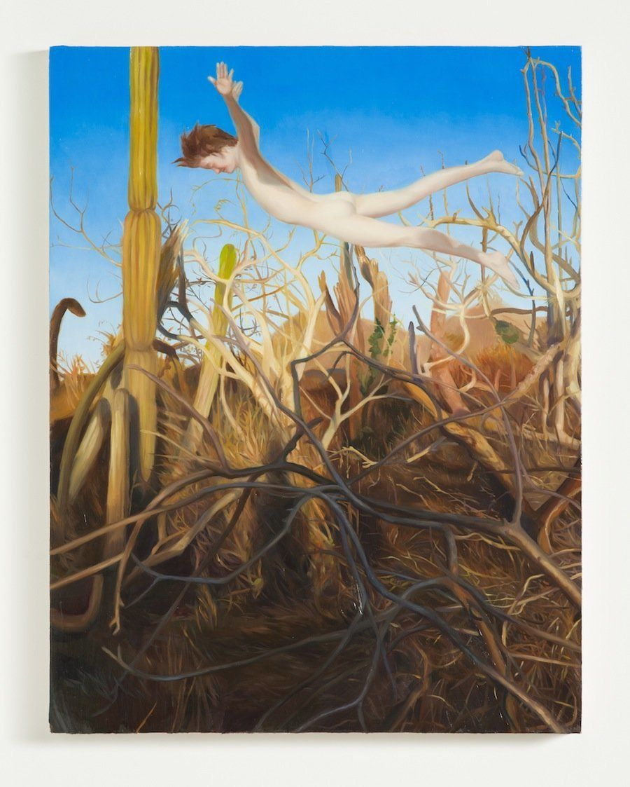 "Laura Krifka  Flight, 2015  Oil on panel  23"" x 18"""