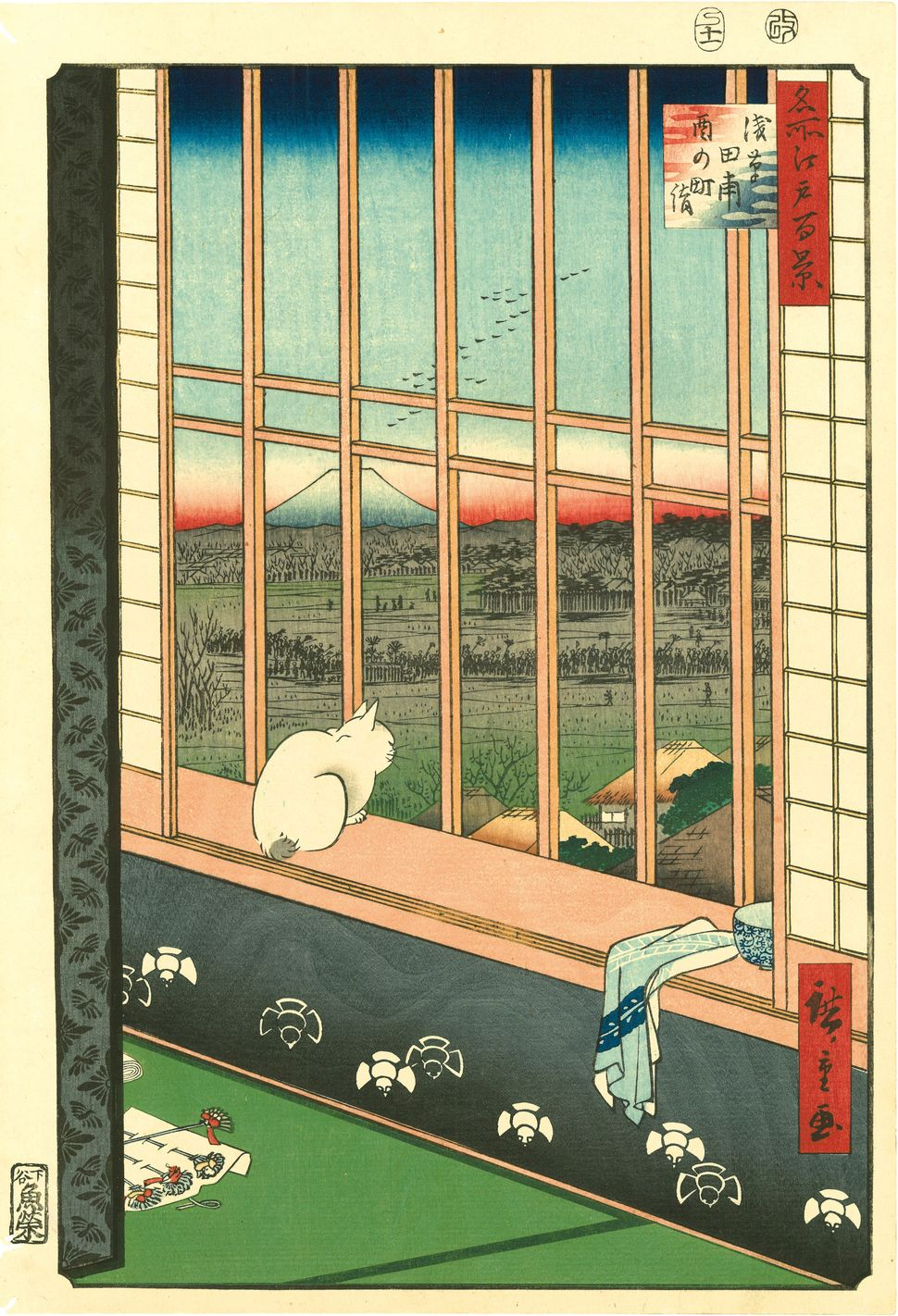 Utagawa Hiroshige (1797–1858), Asakusa Ricefields and Torinomachi Festival from the series One Hundred Famous Views of Edo, 1