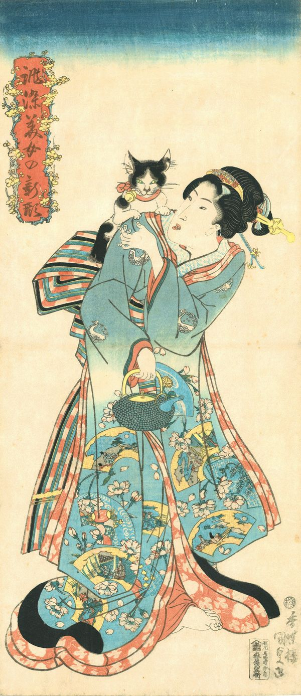 Utagawa Kunisada (1786–1864), Cat and Beauty from the series Beauties in New Styles Dyed to Order, 1818–30. Color woodblock p
