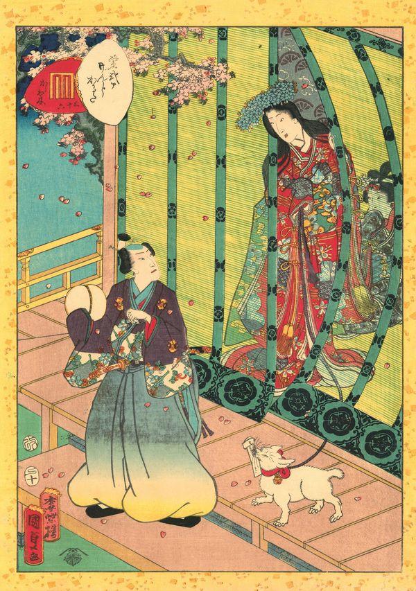 Utagawa Kunisada II (1823–1880), No. 36, Kashiwagi from the series Lady Murasaki's Genji Cards, 1857. Color woodblock print;