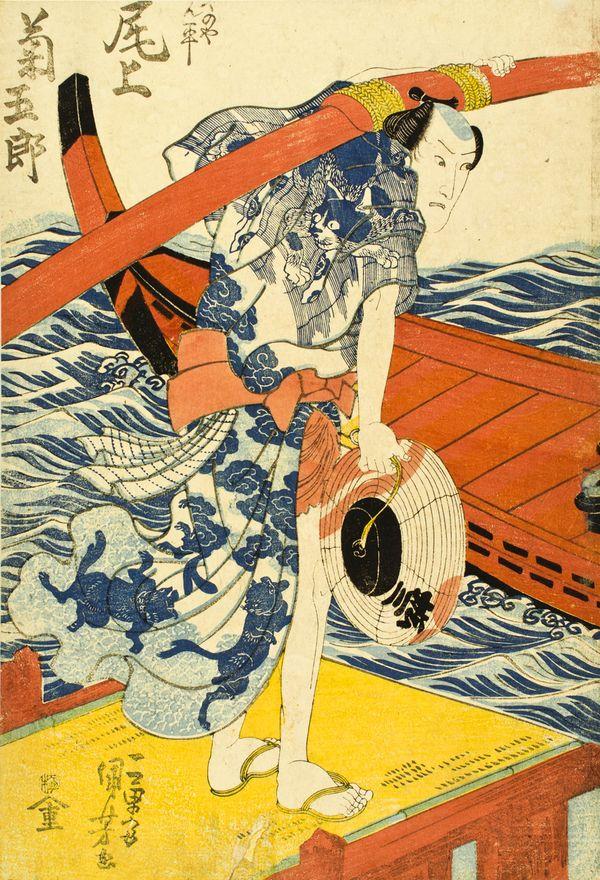Utagawa Kunisada (1786–1864), The Actor Onoe Kikugorō III as Kayanoya Kanpei, 1833. Color woodblock print; 22 ½ x 16 inches.