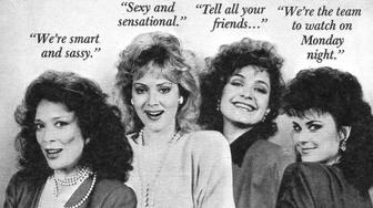 NEW YORK - SEPTEMBER 27: CBS Television advertisement as appeared in the September 27, 1986 issue of TV Guide magazine. An ad for the Monday primetime comedy, Designing Women (starring Dixie Carter, Jean Smart, Annie Potts, and Delta Burke).  The campaign slogan for the new season is Share the Spirit! (Photo by CBS via Getty Images)