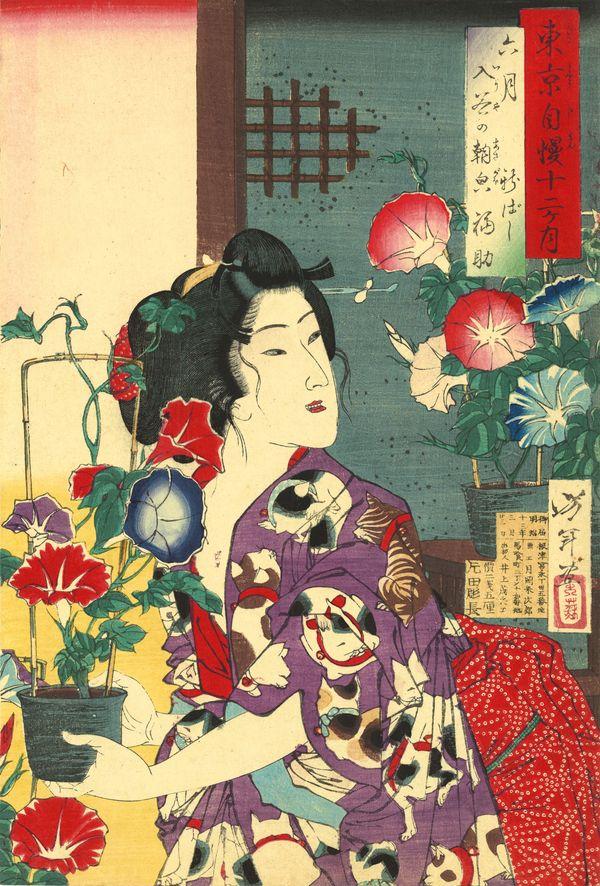 Tsukioka Yoshitoshi (1839–1892), Sixth Month: Fukusuke of Shinbashi with Morning Glories at Iriya from the series of Pride of