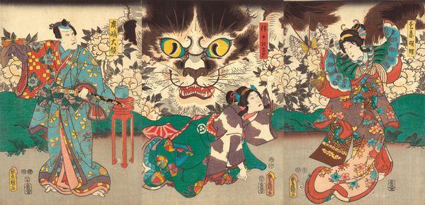 Utagawa Kunisada (Toyokuni III; 1786–1865), Beloved Concubine Kochō, Her Maid Okoma, and Narushima Tairyō, 1853. Color woodbl