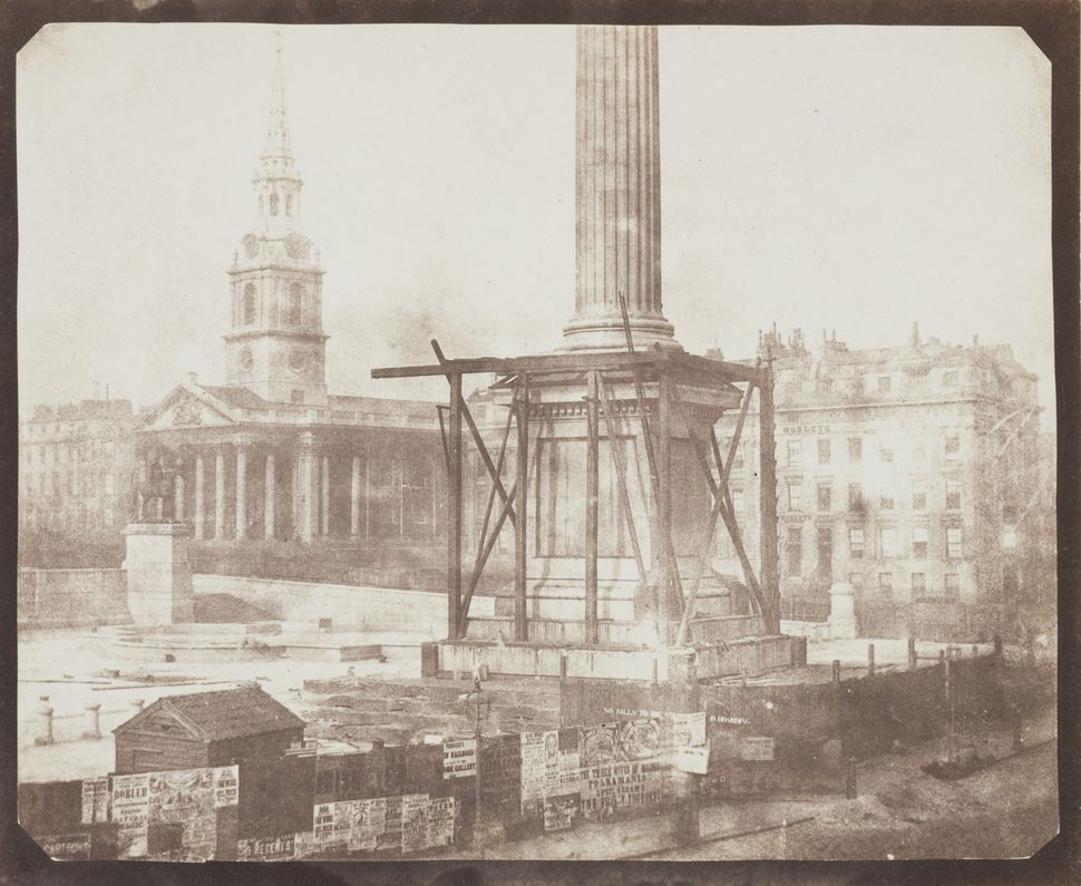 William Fox Talbot Nelson's Column Under Construction, Trafalgar Square 1844 Photograph, salted paper print from a paper nega