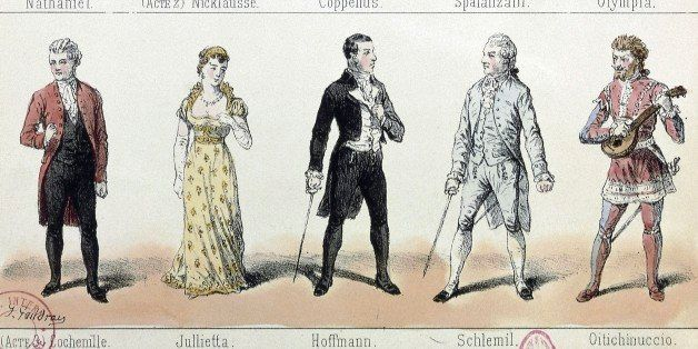 UNSPECIFIED - APRIL 29: Costumes and main characters of Les contes d'Hoffmann (The tales of Hoffmann), 1880, opera by Jacques