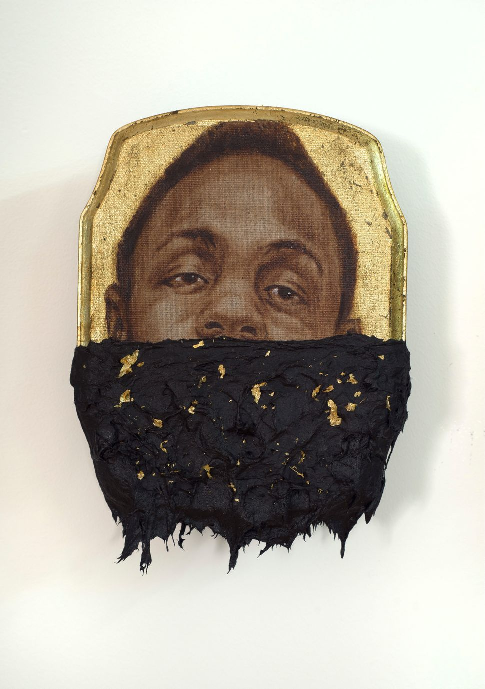 Jerome III, 2014 oil, gold leaf and tar on wood panel 10 x 7 x 1 inches © Titus Kaphar. Courtesy of the artist and Jack Shain