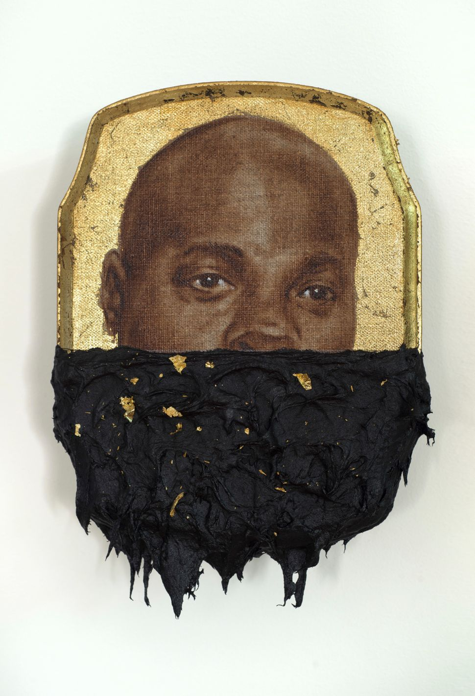 Jerome IV, 2014 oil, gold leaf and tar on wood panel 10 x 7 x 1 inches © Titus Kaphar. Courtesy of the artist and Jack Shainm