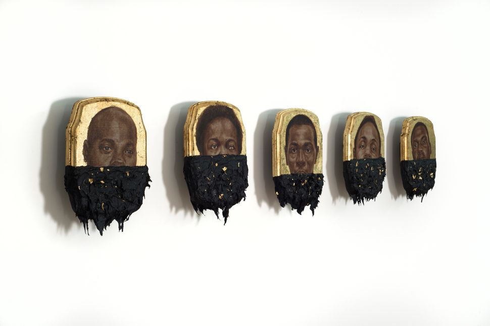 Jerome (Set)  Oil, gold leaf and tar on wood panel Each: 10 x 7 x 1 inches © Titus Kaphar. Courtesy of the artist and Jack Sh