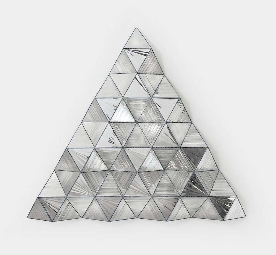 Monir Shahroudy Farmanfarmaian, Third Family––Triangle, 2011, Reverse painted glass, mirrored glass, and plastic, 110 x 121 x