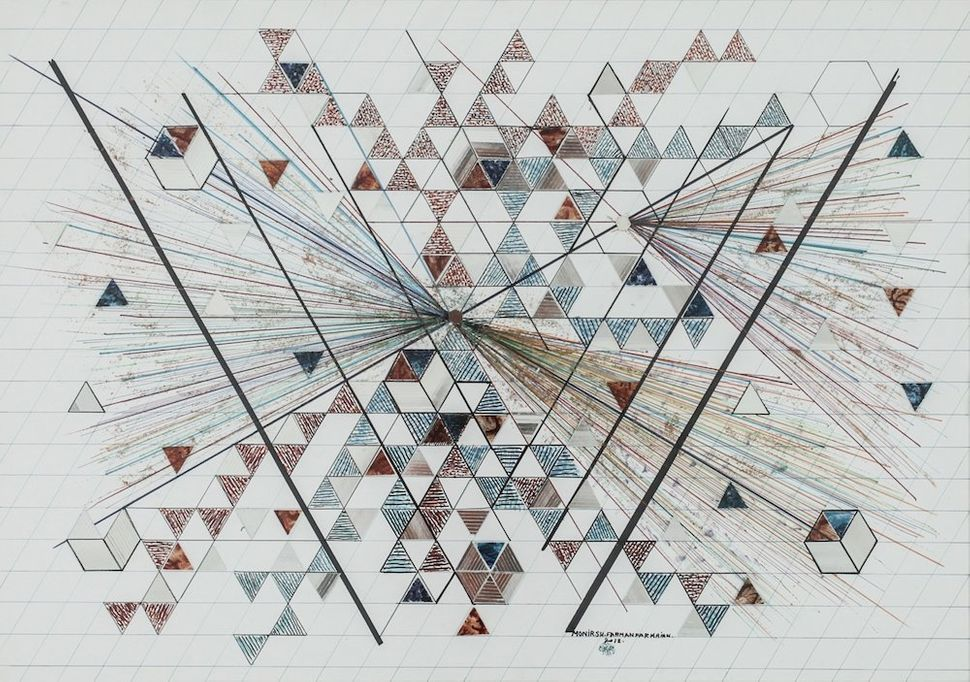 Monir Shahroudy Farmanfarmaian, Untitled, 2012, Felt-tip pen, ink, metallic paint, mirrored glass, reverse painted glass, and