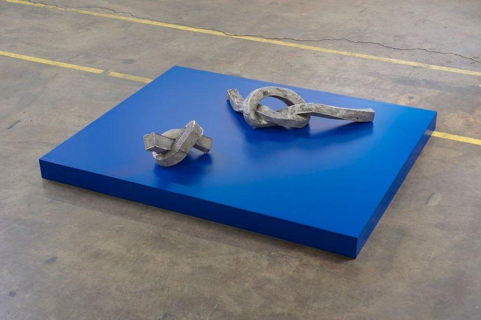 "Nevine Mahmoud Tied chunks with color box 2015 Aluminum, Laminate, Wood 49 x 10.75 x 60"""
