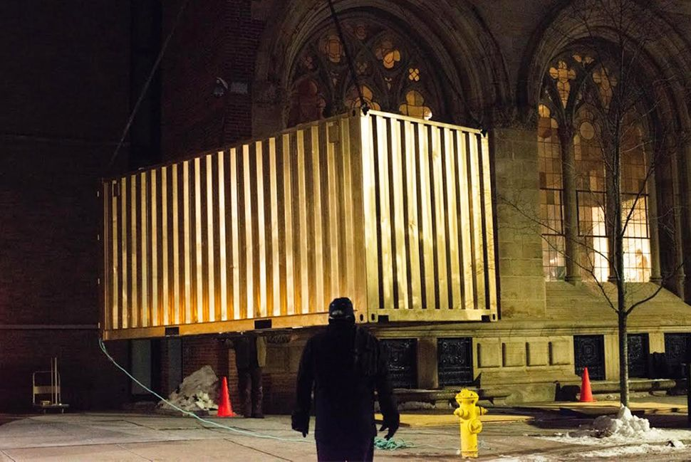 Installing the Portal by crane at the Yale University Art Gallery on February 19, 2015