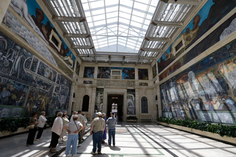 "In a June 13, 2013 photo, the ""Detroit Industry"" fresco by Mexican muralist Diego Rivera is seen at the Detroit Institute of"