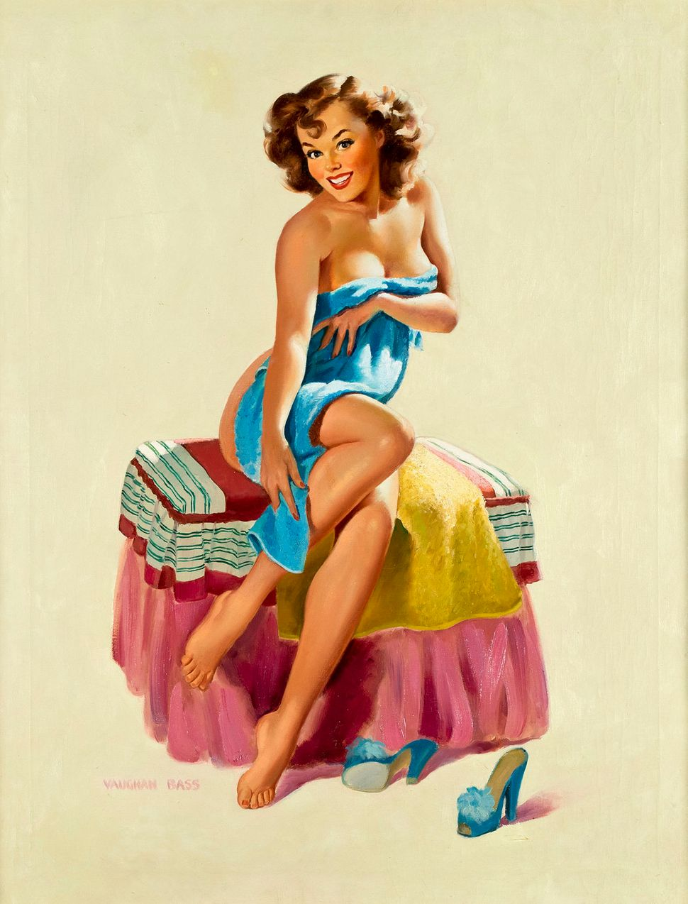 Vaughan Alden Bass, Sugar N' Spice (Towel Girl) Oil on Canvas