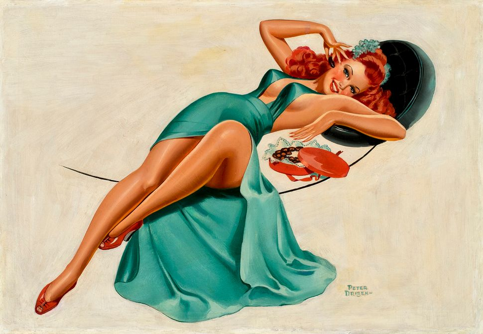 Peter Driben, Reclining Red Head in Green Dress with Chocolates (24x35 Oil on Canvas)