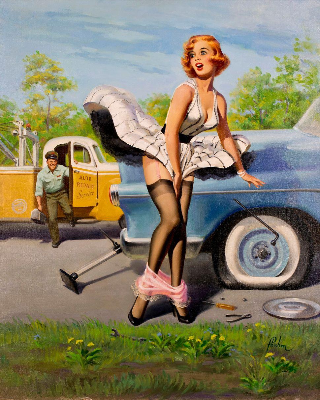 Art Frahm, Tow Truck (Flat Tire) (31x25 Oil on Canvas on Board