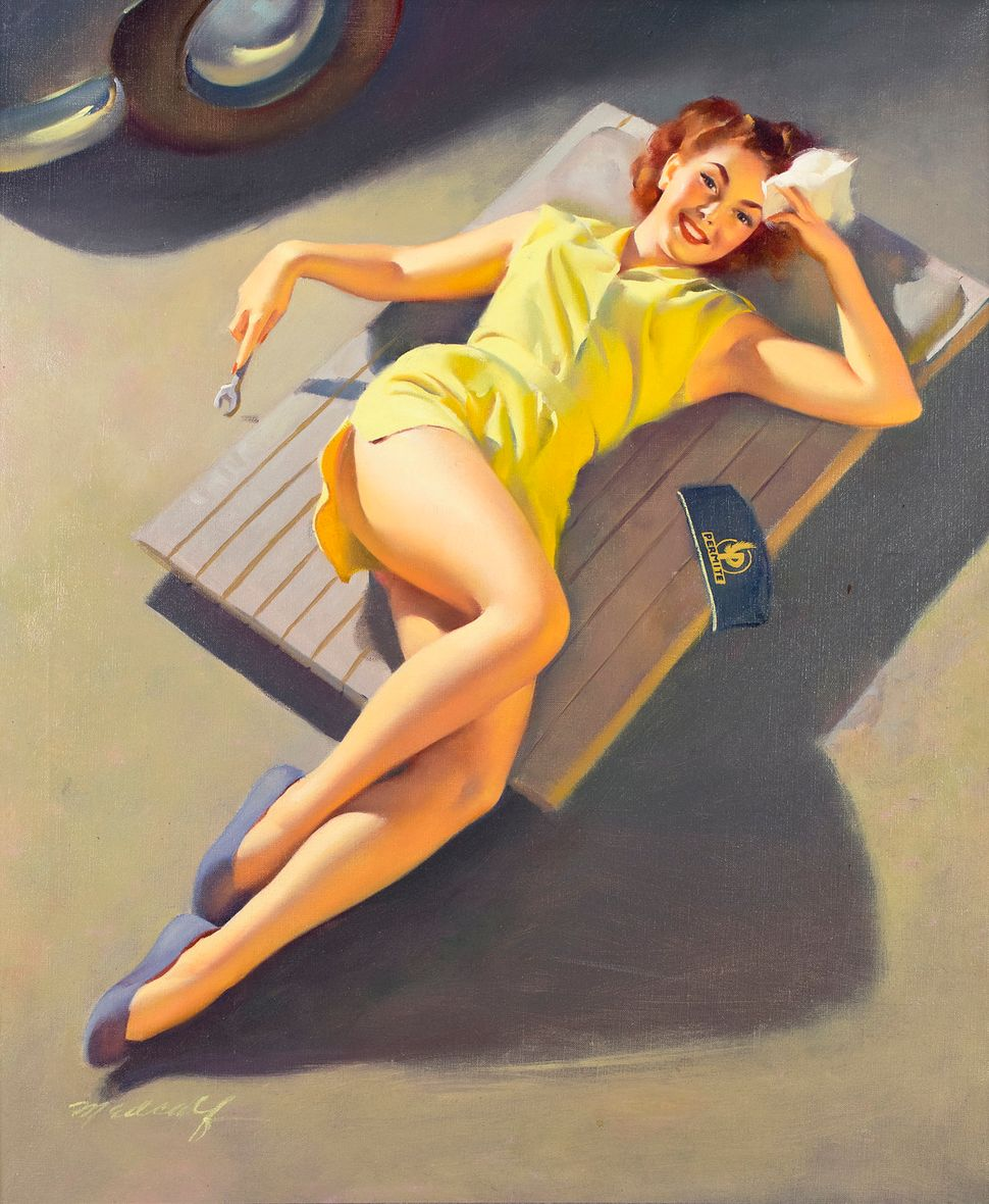 William Medcalf, Permite Girl on Car Creeper (30x25 Oil on Canvas)