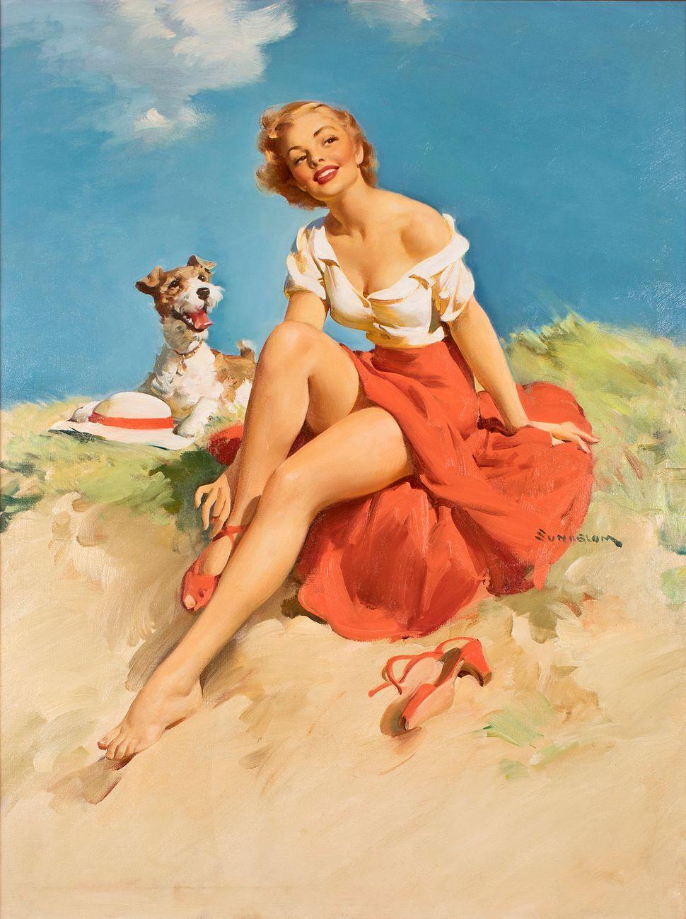 Haddon Sundblom, Untitled (Girl with Dog) (40x30 Oil on Canvas)
