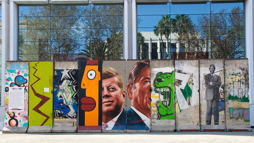 Ten original segments of the Berlin Wall at 5900 Wilshire Blvd. The Wende Museum. Los Angeles, CA.