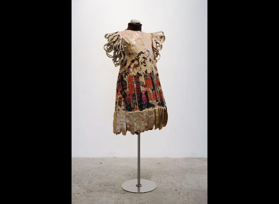 China Adams <em>Alpine Meadow</em>, 2008 Trader Joe's paper shopping bags, cotton turtleneck, acrylic varnish (Dress displ