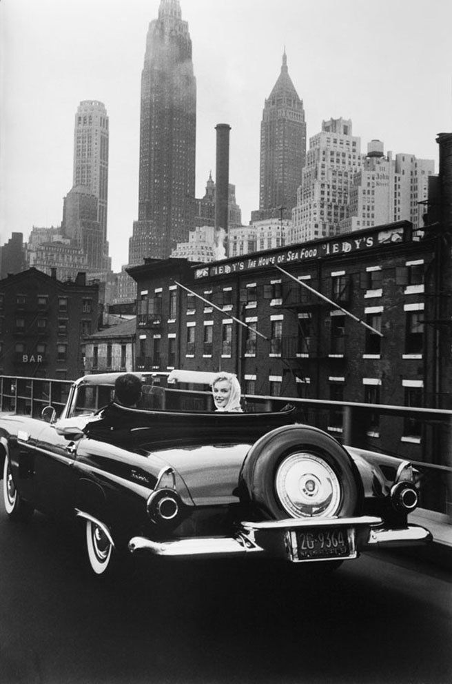 Marilyn Monroe and Henry Miller in car, New York City, 1957.  Courtesy Galerie Esther Woerdehoff