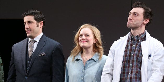 NEW YORK, NY - MARCH 19:  Jason Biggs, Elisabeth Moss and Bryce Pinkham during the Broadway Opening Night Curtain Call for 'T