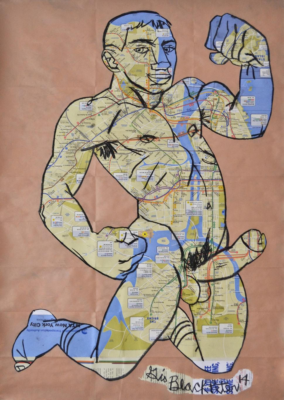 Gio Black Peter, Big Dreams, 2014,  Acrylic and oil pastel on NYC Subway   map, 32.5 x 23 in. Courtesy of the   artist.