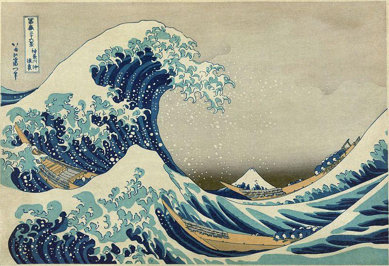 "Katsushika Hokusai, ""The Great Wave off Kanagawa,"" 1829-32 (color woodcut)"