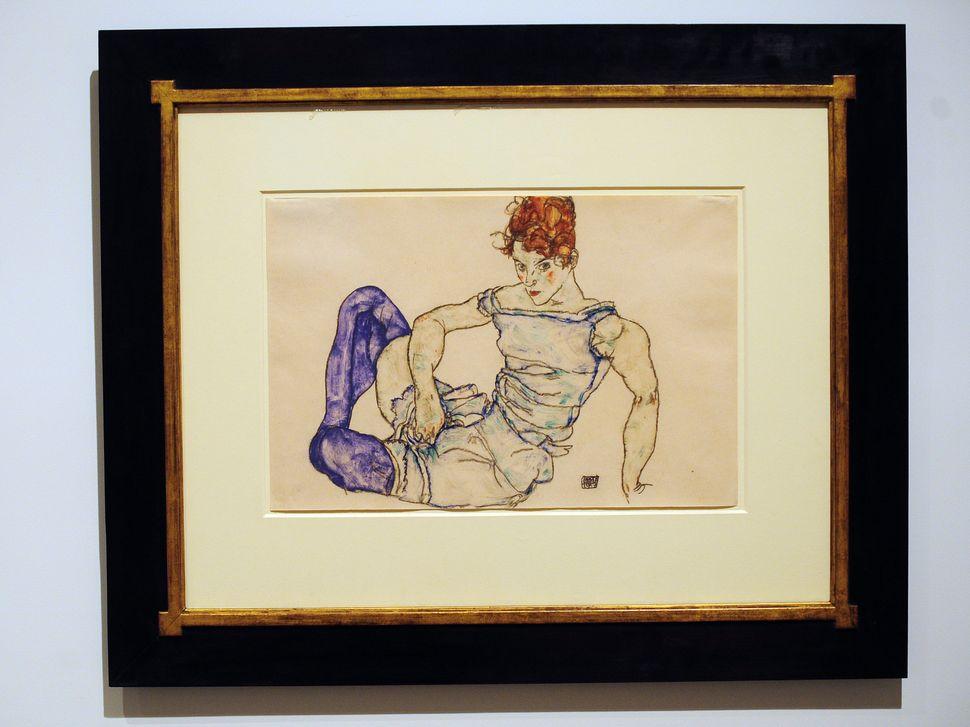 """Egon Schiele, """"Sitzende Frau Mit Violetten Strumpfen,"""" 1917 (gouache and black crayon on paper)"""