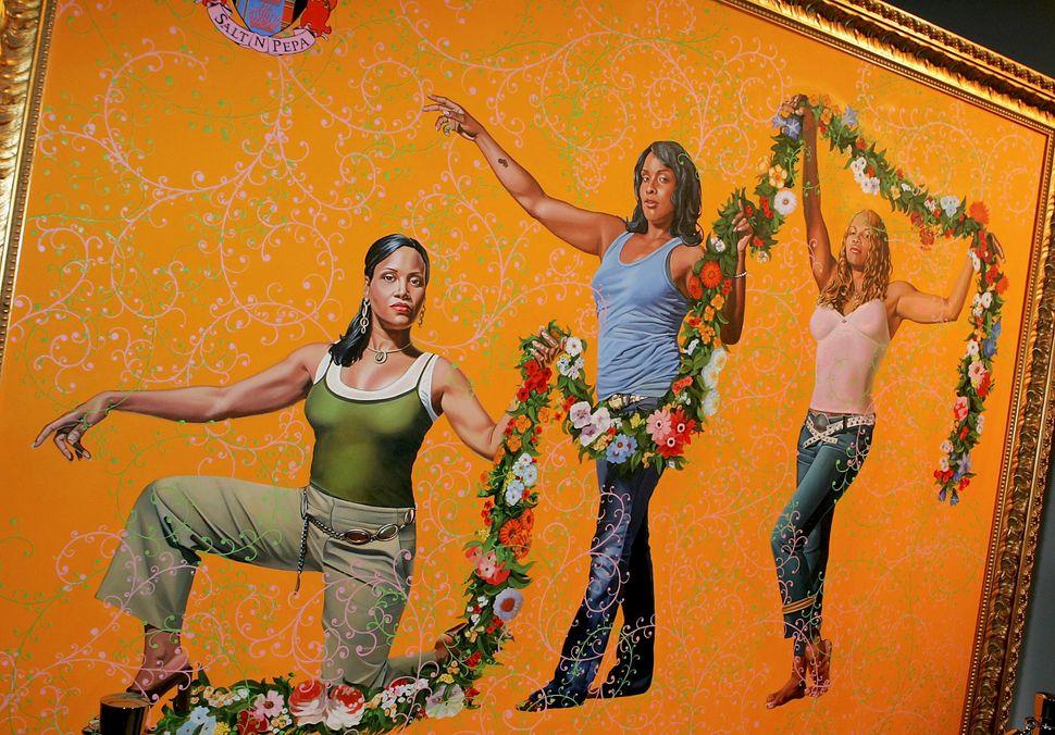 """Kehinde Wiley, """"Salt N Pepa,"""" 2005. <br><br>Orange and blue coexist."""