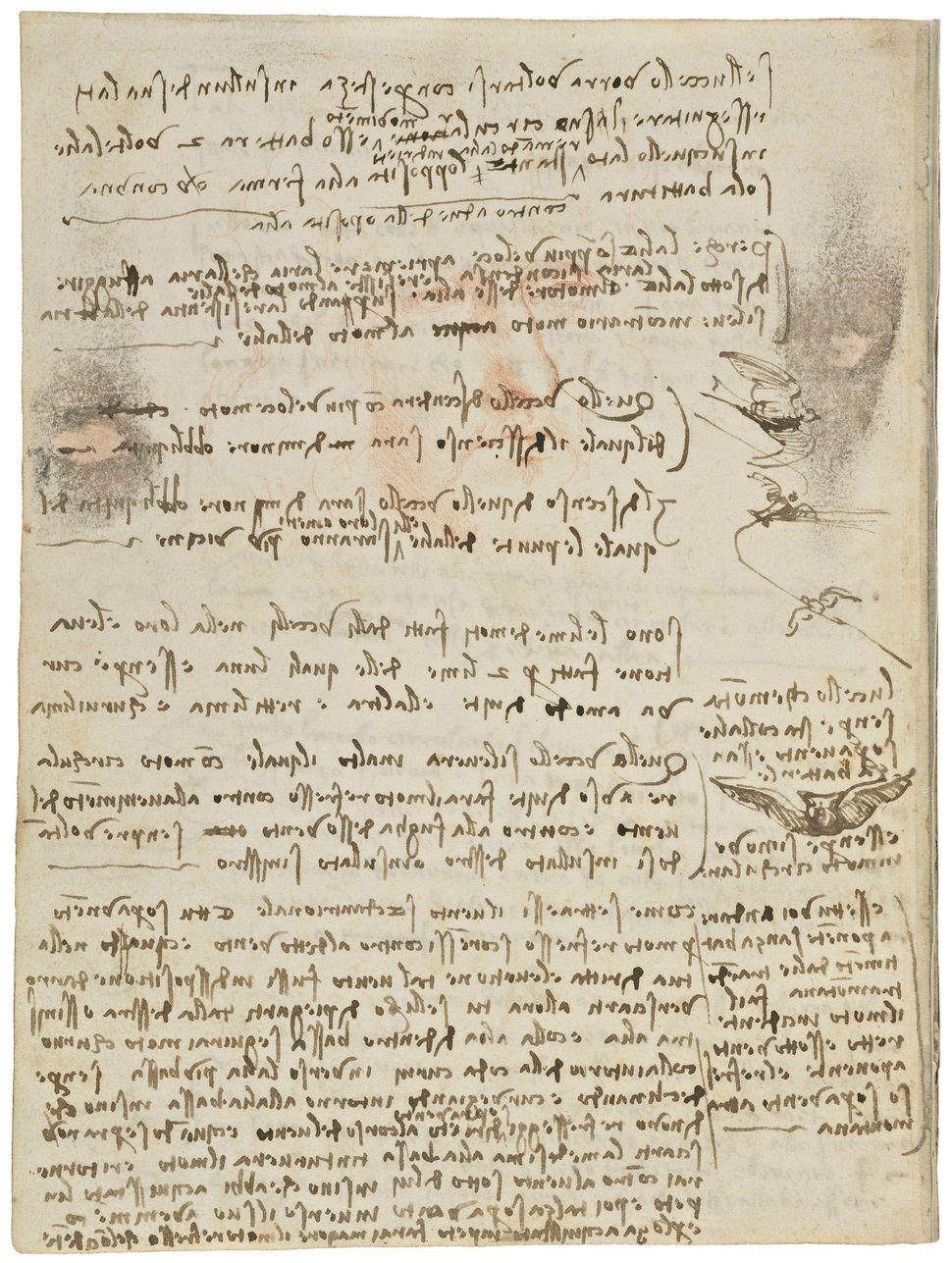 """Codex on the Flight of Birds,"" circa 1505, Leonardo da Vinci."