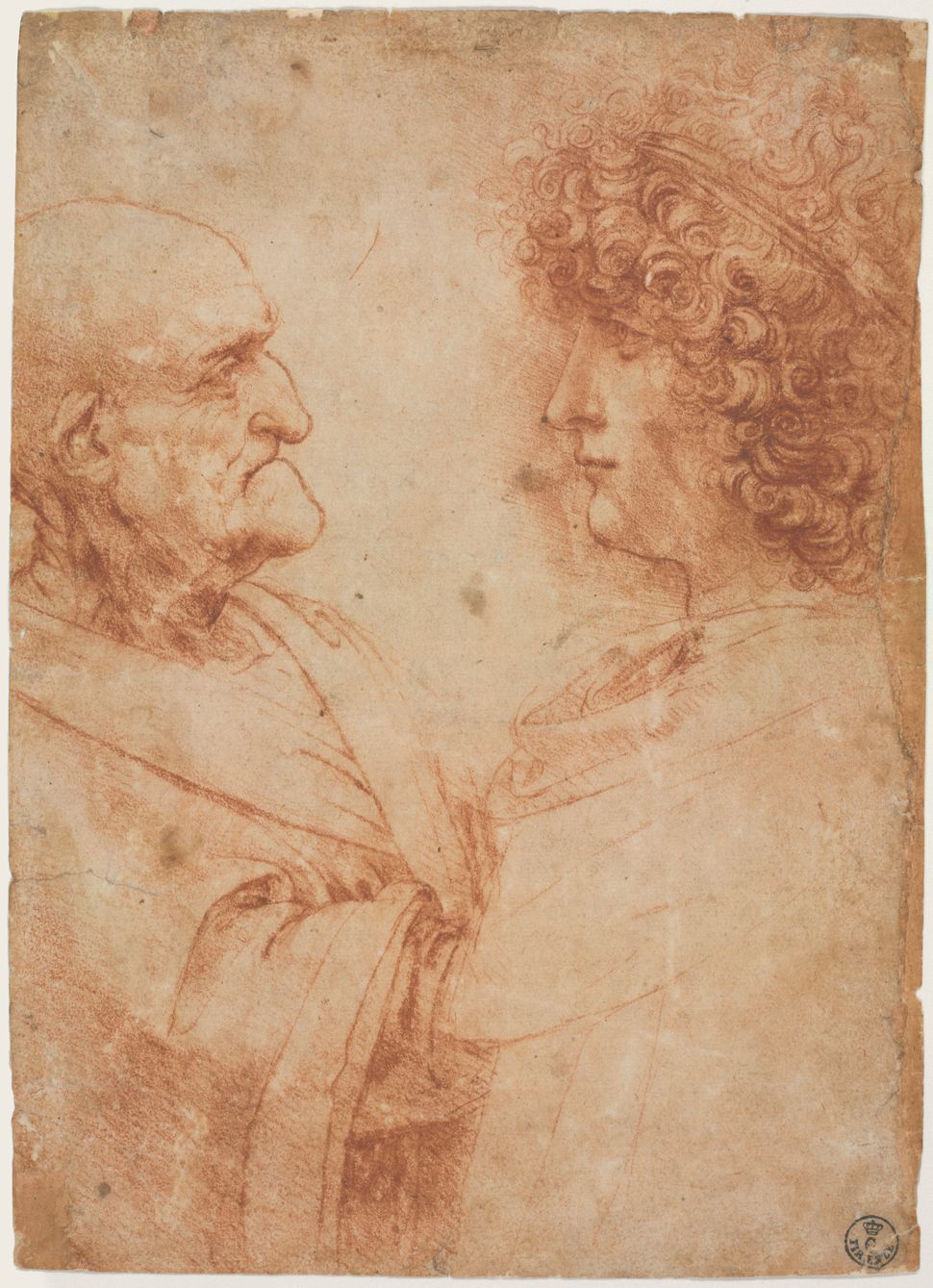 """An Old Man and a Youth Facing One Another,"" circa 1500-1505, Leonardo da Vinci."