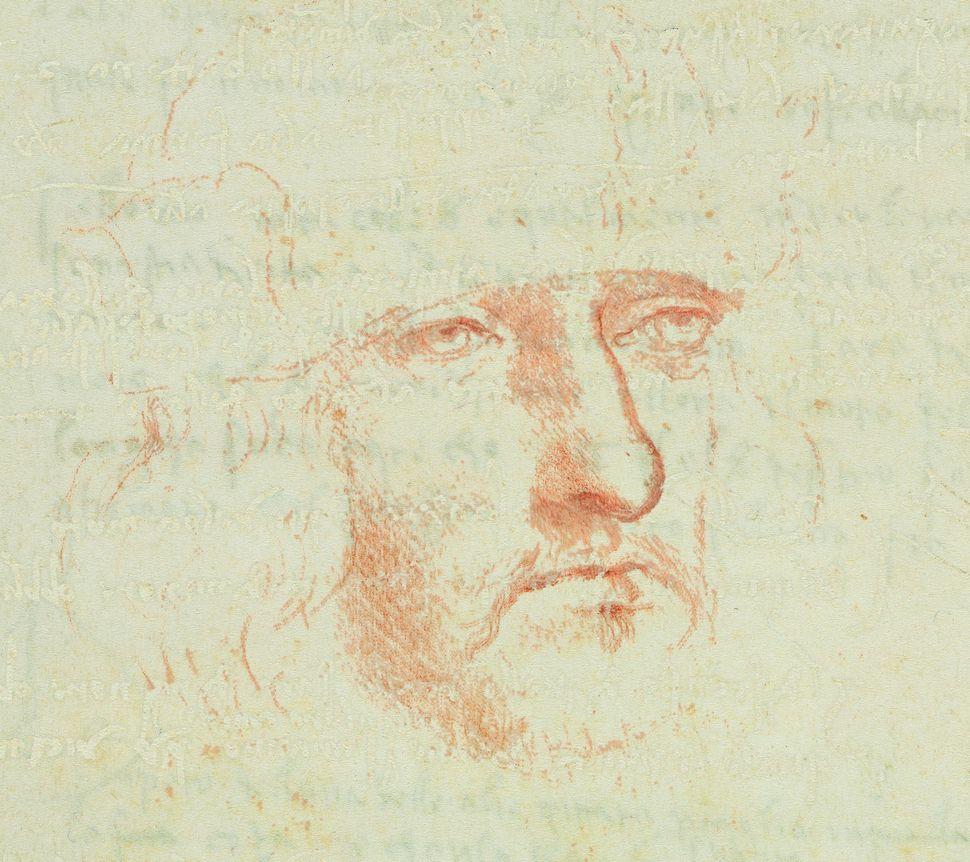 """Codex on the Flight of Birds,"" (enhanced detail: self-portrait), circa 1505, Leonardo da Vinci."
