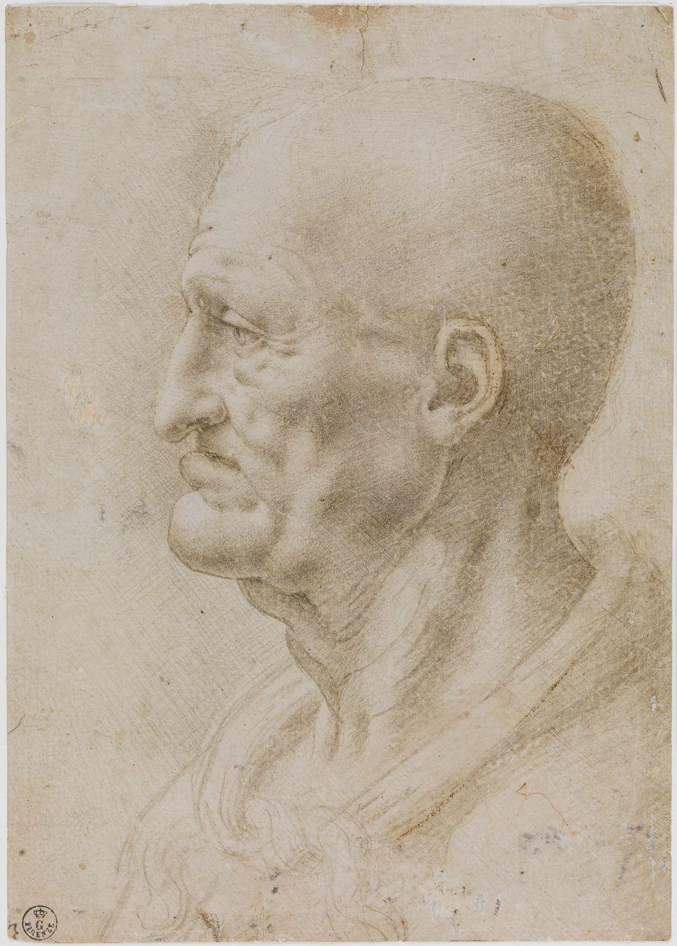 """Head of an Old Man,"" 1490s, Leonardo da Vinci and assistant."
