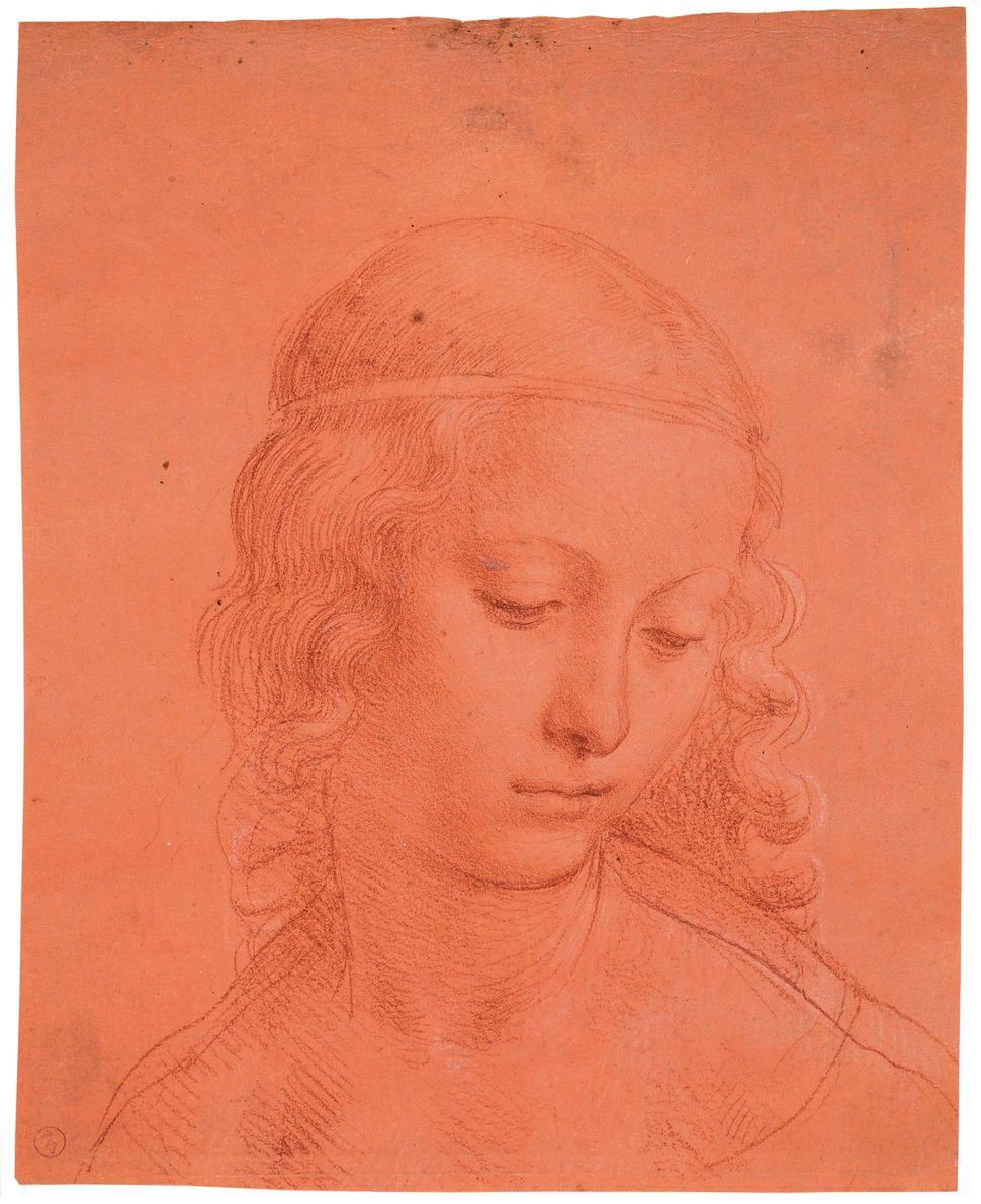 """Head of a Young Woman,"" circa 1500-1510, attributed to Leonardo da Vinci and follower."