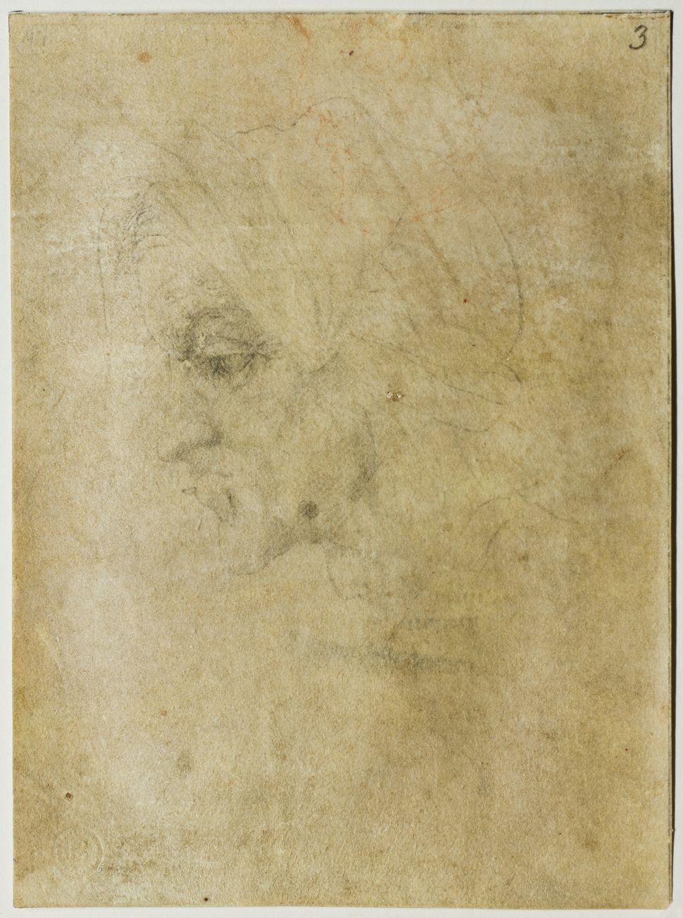 """Head of a Woman,"" circa 1525-30, Michelangelo Buonarroti."