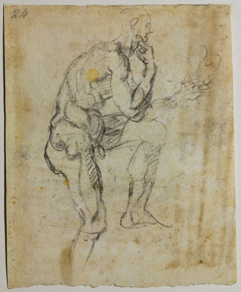 """Study of a male nude for the figure of Naasan's wife in the Sistine Chapel"" (recto), 1511, Michelangelo Buonarroti."