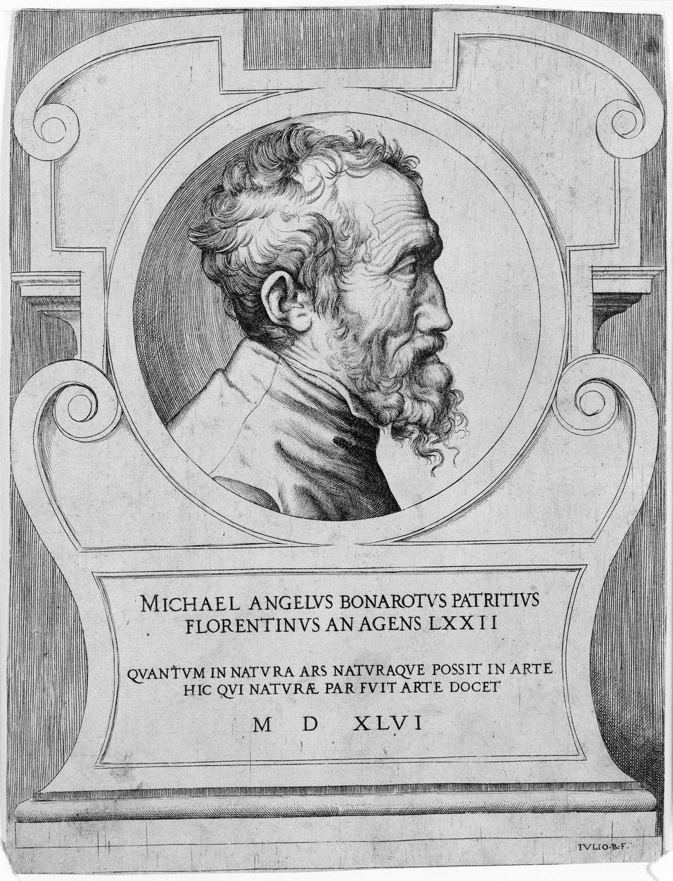 """Portrait of Michelangelo,"" 1546, Giulio di Antonio Bonasone"