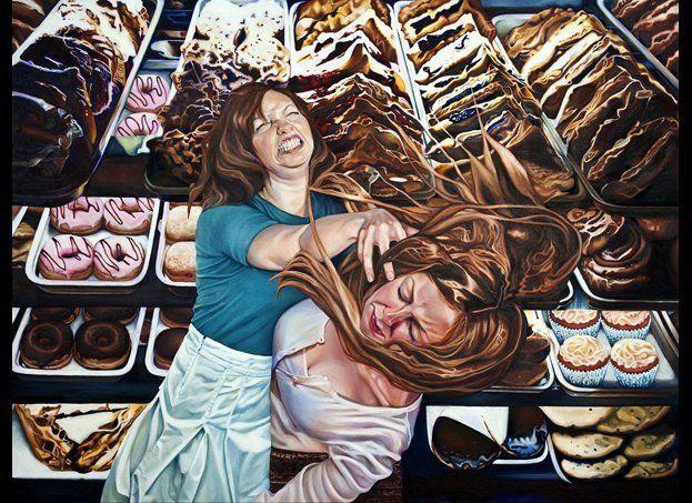 """<em>Bakery Brawl</em> oil on canvas, 36""""x48"""", 2010.  Fine art giclee prints available - visit www.meganvangroll.com for mor"""
