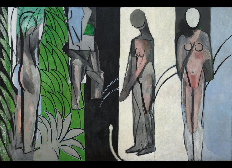 """Henri Matisse (French, 1869–1954) <em>Bathers by a River. </em>1909–10, 1913, 1916–17 Oil on canvas. 102 1/2 x 154 3/16"""" (2"""