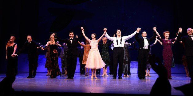 Cast members of musical show 'An American in Paris' take a curtain call on the conclusion of the opening night performance at