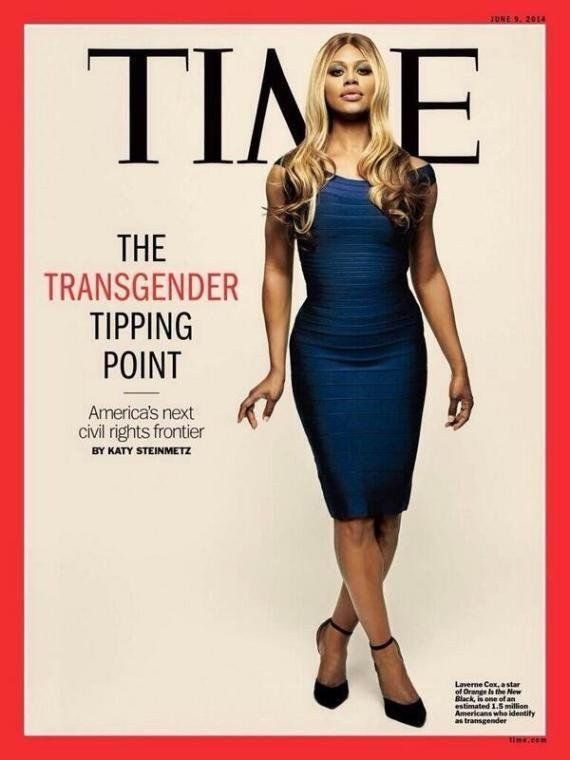 "Laverne Cox of ""Orange is the New Black"" becomes the first transgender person to appear on the cover of <a href=""http://time."
