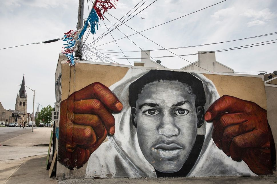 A mural of Trayvon Martin is seen on the side of a building in the Sandtown neighborhood where Freddie Gray was arrested on A