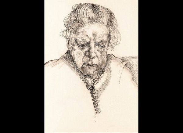 "Lucian Freud, ""The Painter's Mother,"" 1983 Charcoal and pastel on paper, 12 3/4 x 9 3/4 in. (32.4 x 24.8 cm)"