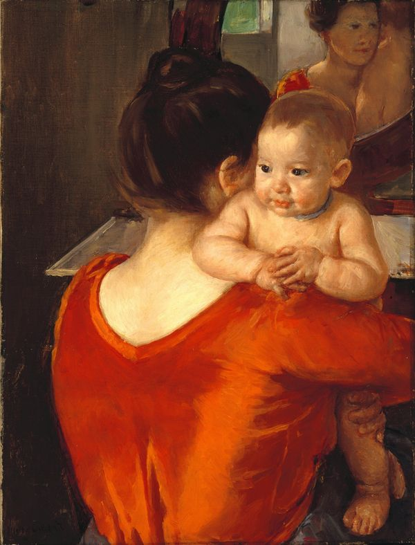 "Mary Cassatt, ""Woman in a Red Bodice and Her Child,"" ca. 1901. Oil on canvas, 27 x 20 1/4 in. (68.6 x 51.4 cm)"