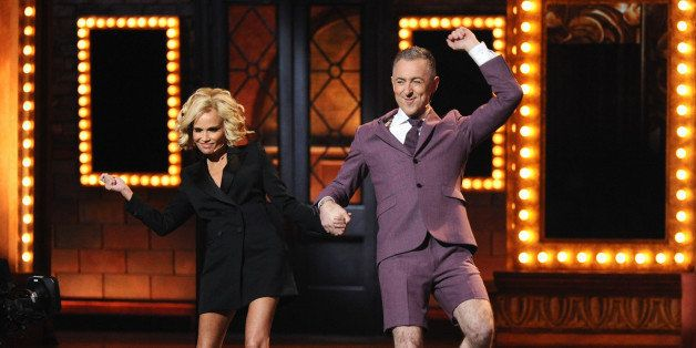 Kristin Chenoweth, left, and Alan Cumming perform a medley at the 69th annual Tony Awards at Radio City Music Hall on Sunday,