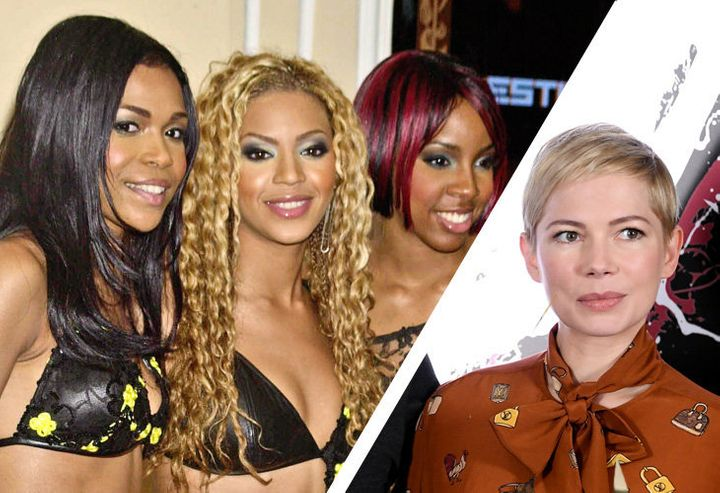 Michelle Williams, Beyonce, Kelly Rowland (L) and also Michelle Williams (R).