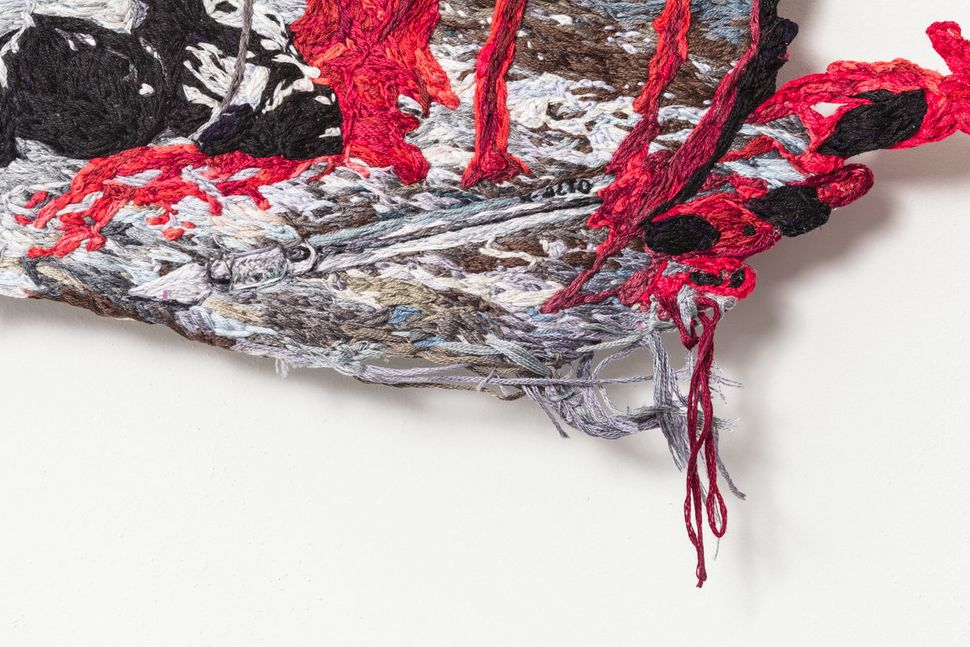 Along the Vein, 2015, Embroidery Thread and Fabric, 26 x 20 in